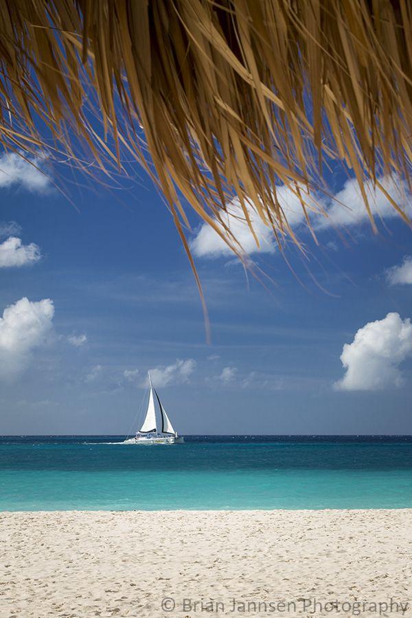 Sailboat off Eagle Beach, Aruba, West Indies. © Brian Jannsen Photography