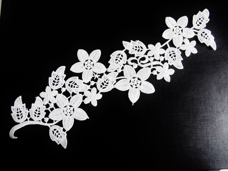 longue applique en dentelle florale de couleur blanche 27.5 x 9.5 cm : Déco, Customisation Textile par sylvia21