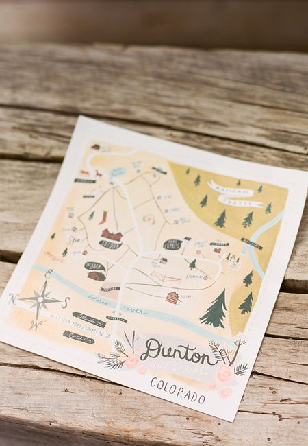 Custom map of Dunton, Colorado for a mountain wedding. | Brides.com
