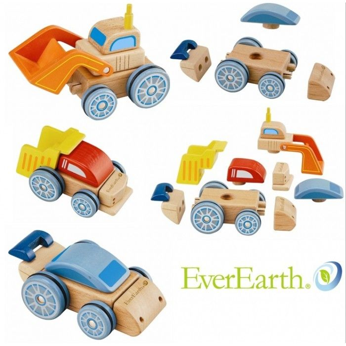 Everearth wooden interchangeable vehicle set. Let your child's imagination go with this fun set of vehicles.