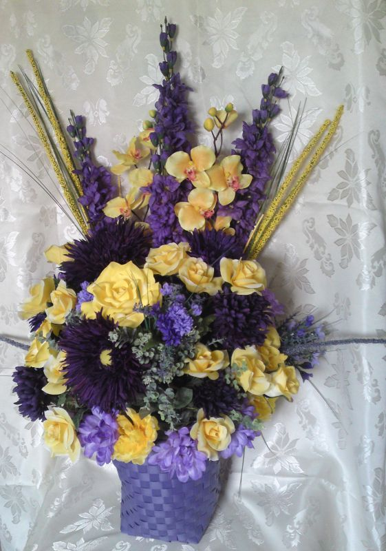 purple and yellow silk altar arrangement $20 :  wedding altar arrangements altar decor cheap flower arrangements diy flowers purple silk flowers yellow Altarbasket