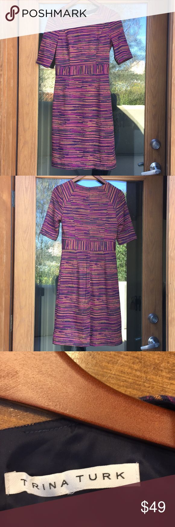 "Trina Turk dress, Size 6 Cut Trina Turk fitted dress, fits a size 6. Inside is lined. Good condition. Zips in back. Colors include purple, gold & navy. 36"" Long, 15"" across the chest. Make sure to check my closet as bundles save on shipping for multiple items. Trina Turk Dresses Midi"