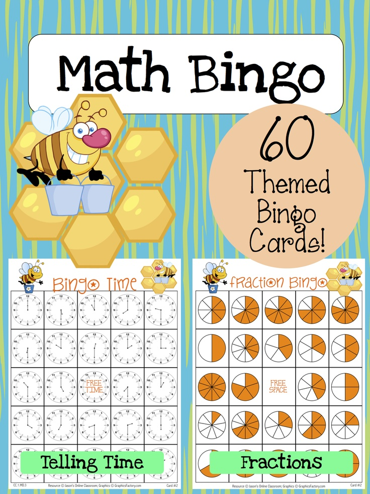 Math Bingo Bundle - Fraction Bingo and Clock Bingo together with 30 themed cards each.  Repin me please! :)