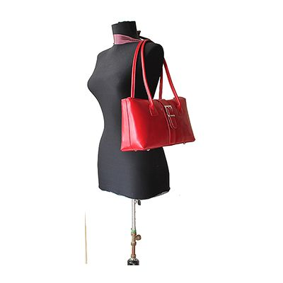 Buckle Lock Red Leather Shoulder Bag - Down to £49.99 from £59.99