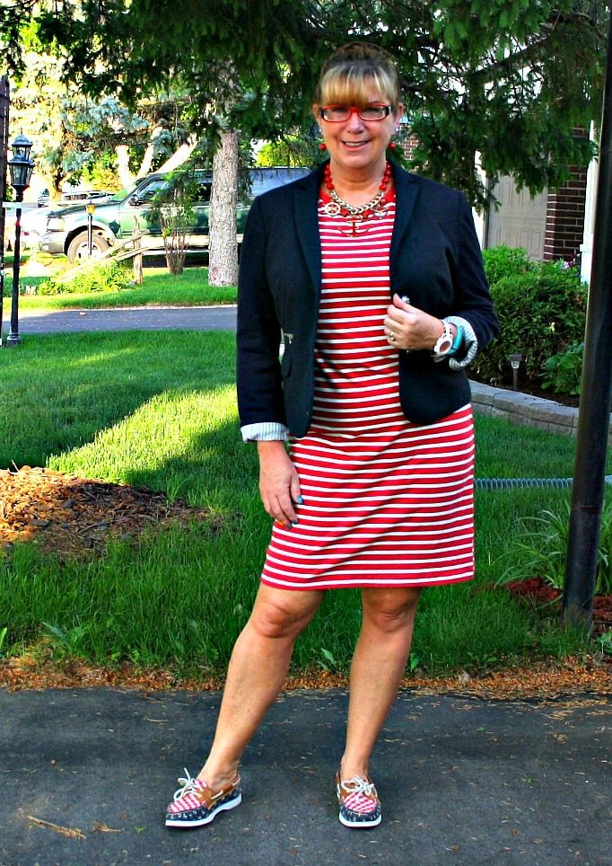 Edmonton Bound and I am taking the Sea ( nautical) with me Old Navy Stripe dress with navy accents and a few anchors