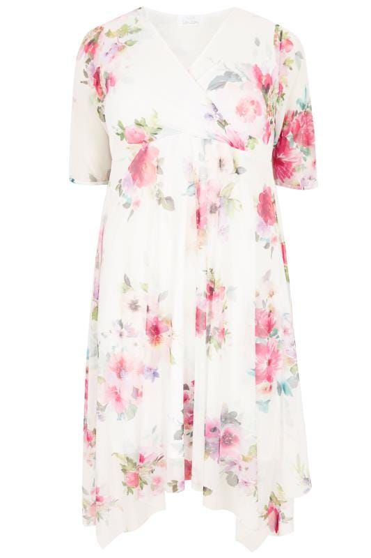 a17df879b Shop YOURS LONDON White Floral Mesh Midi Dress With Hanky Hem at Yours  Clothing. Discover plus size fashion in size 14-34.