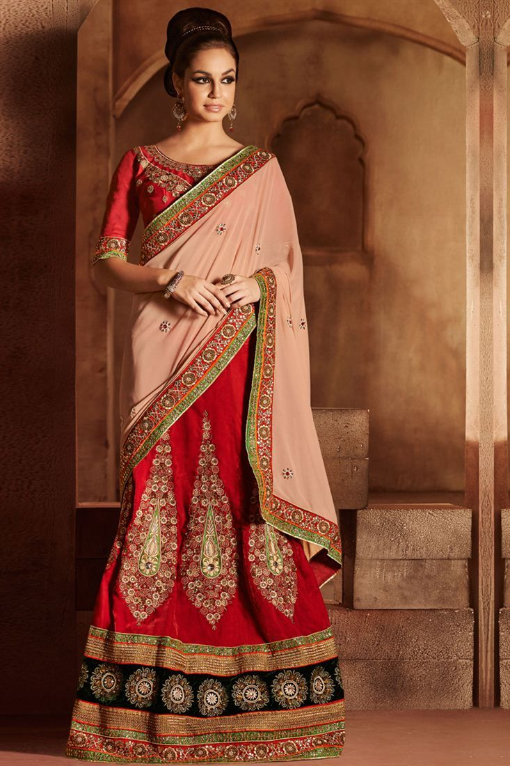 Delightful Peach And Red Color Lehenga Saree