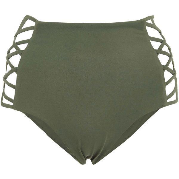 Tori Praver Damia Cheeky High Waist Bikini Bottom ($100) ❤ liked on Polyvore featuring swimwear, bikinis, bikini bottoms, green, strappy swimwear, high-waisted swimwear, strappy high waist bikini bottom, high waisted bikini bottom swimwear and highwaisted bikini bottoms