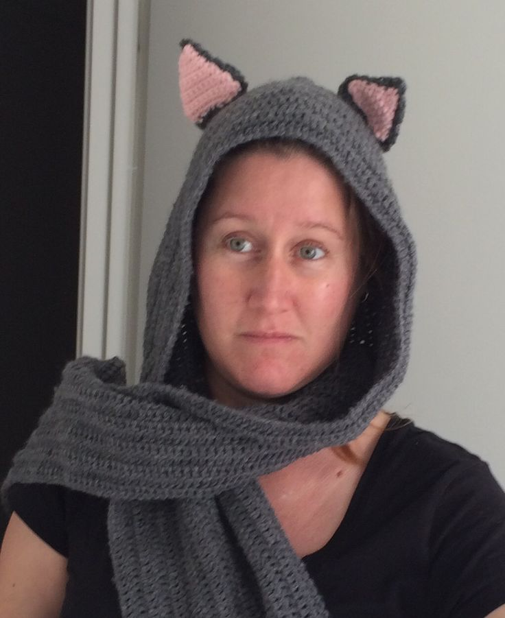 Cat scoodie (scarf-hood) made by Mum