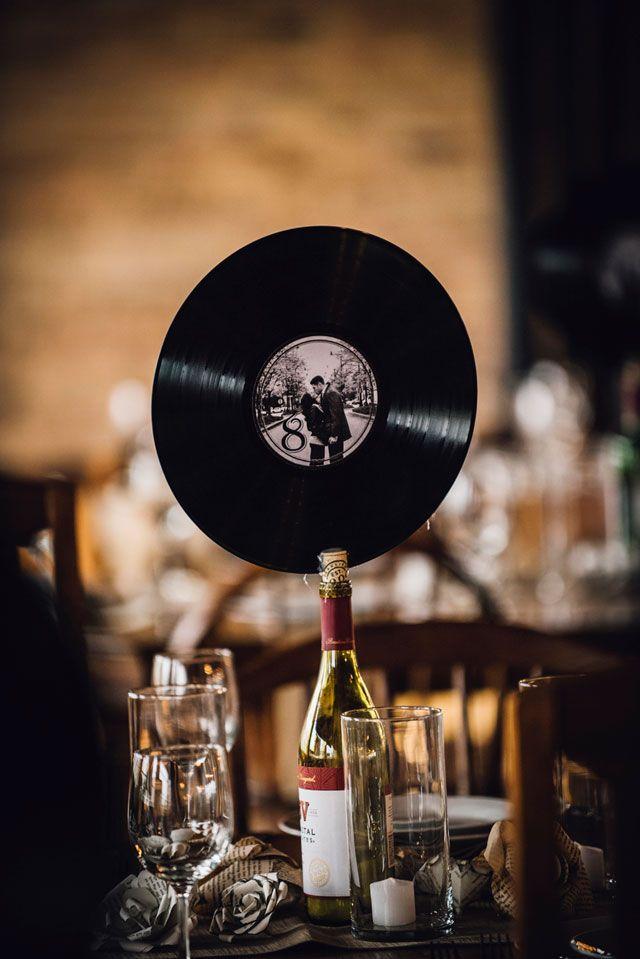 vinyl record table number   Erin Hoyt Photography: http://erinhoytphotography.com