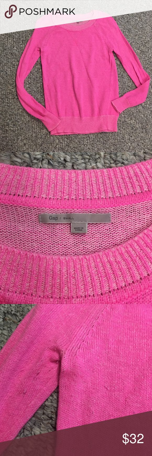 Gap hot pink sweater Gap hot pink sweater. Size small. Some peeling (pictured above) but could easily be shaved off. Gently used. Clean smoke free home. 55nylon, 30wool, 15acrylic. Hand wash. Adorable color Gap Sweaters Crew & Scoop Necks