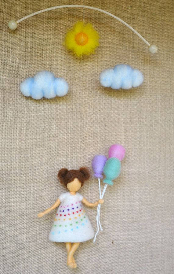 Room Decor Children mobile Waldorf inspired girl by MagicWool