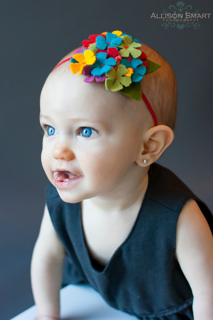 Multicolor Hydrangea Soft Felt Baby Headband. $7.00, via Etsy.