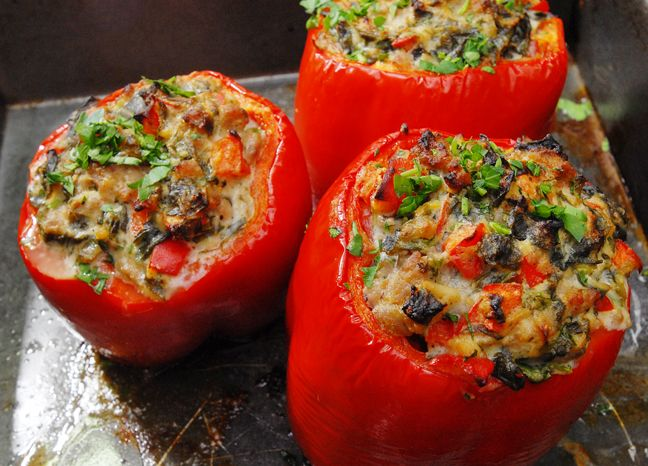 Here is a great way to use up some leftover ricotta for a quick weekday meal. Remember to pick peppers that have flat bottoms so they do not tip over while baking. Sausage and Ricotta Stuffed Peppe…