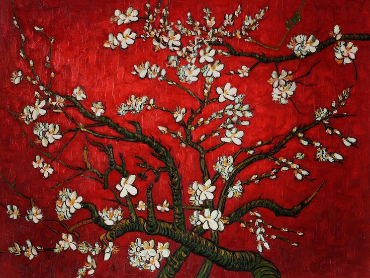 'Branches of an Almond Tree in Blossom (Red Version)' | Vincent Van Gogh