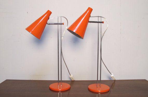 Pair of orange Josef Hurka for Napako lidokov L194 mid century Desk Lamps vintage retro czech