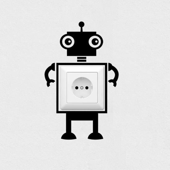 Noir commutateur autocollants stickers muraux robot -1429 Fond d'écran  1.99€