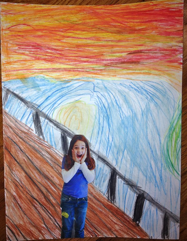 """Fun art project our kids did at their homeschool group! Take photo of child, cut out. Child paints background like """"The Scream."""" Turns out cute!"""