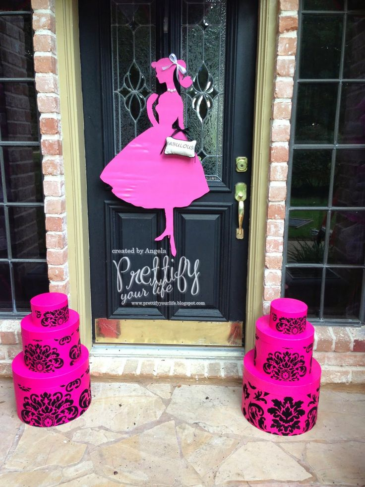 Barbie Doorscape for my Mom!  Barbie cutout instead of a wreath.