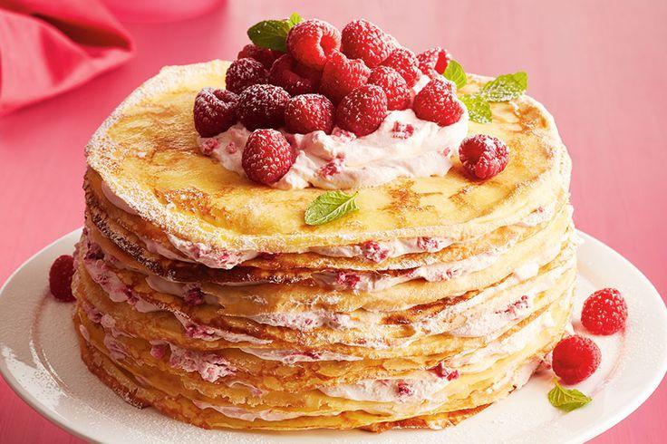 Raspberry Orange Crêpe Cake