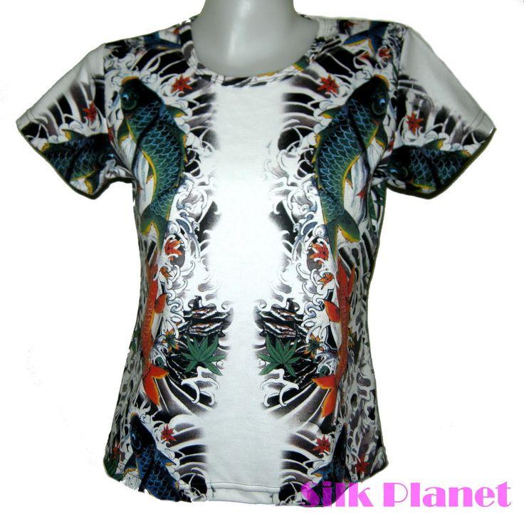 Japanese Tatto Koi Fish T Shirt Top Asian Fine Art Print Lucky Yakuza Design