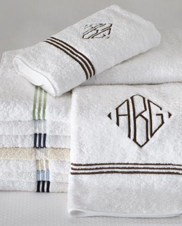 Monogram Bath Towels-Embroidered Bath Towels-3 Line Embroidered Towels
