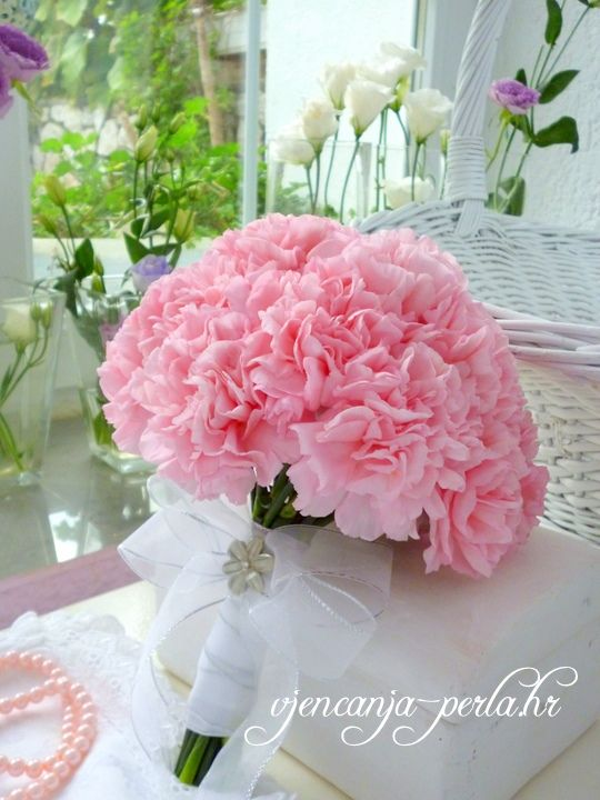 Pink carnations wedding bouquets