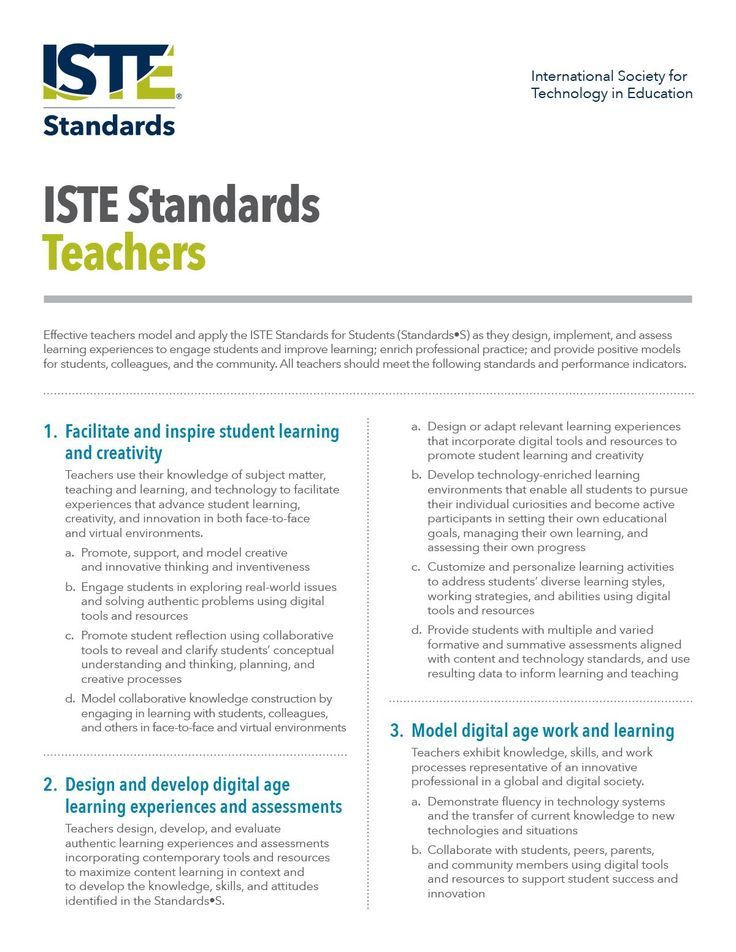ISTE standards for teachers. International Society for Technology in Education prepared these standards for teachers