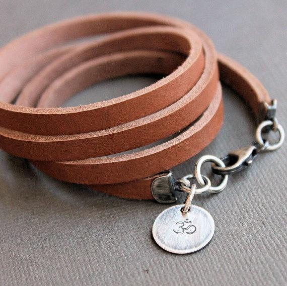 Leather Wrap Bracelet Sterling Silver om Charm by LynnToddDesigns, $56.00
