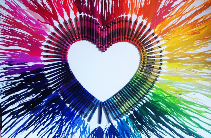 crayon drip heart. I've seen quite a few crayon art projects but I believe this is the one I like best.  I bet it would look interesting if arranged in a starburst.