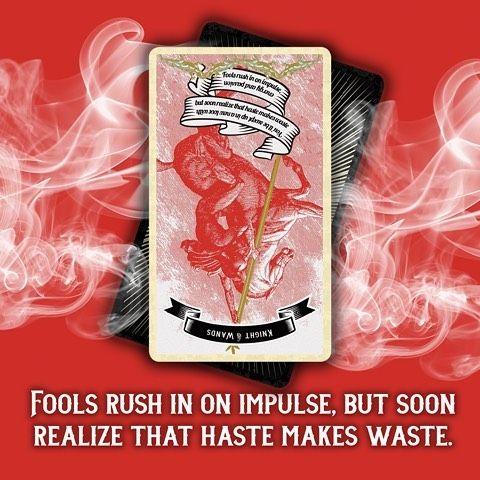 Today: Knight of Wands Reversed - Fools rush in on impulse but soon realize haste makes waste.  Fate. Destiny. Fortune. Madam Clara sees all! #tarot #tarotdeck #tarotlove #tarotcards #magick #tarotreading #fortuneteller #tarotoftheday #tarotreadersofinstagram #fortune #dailytarot #divination #madamclaraseesall #madamclaratarot #oracle www.madamclara.com by madamclaraseesall