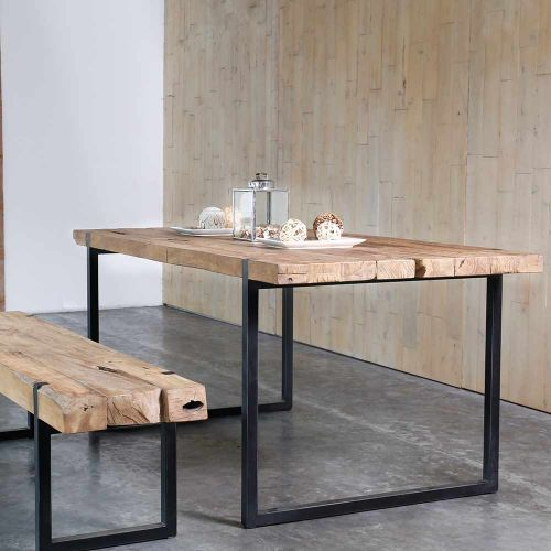 Table teck massif et métal recyclés CELEBES 215cm rectangle