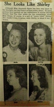 A newspaper compares Miss America 1948, BeBe Shopp's looks to famous actress Shirley Temple. Credit: Unknown newspaper
