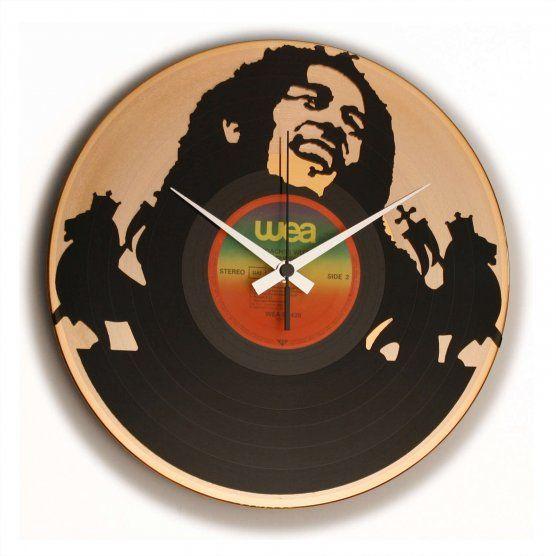 Ceas de perete pe disc de vinil model Bob Marley
