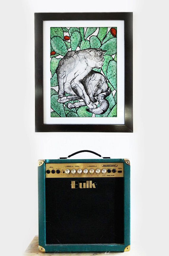 """Limited Edition Art Print, 8"""" x 12"""",  CAT IN CACTUS  €26.10  AVAILABLE HERE: https://www.etsy.com/ie/listing/214489161/limited-edition-art-print-8-x-12-cat-in?ref=shop_home_active_3"""