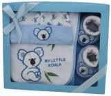Item number 1229 - Koala Gift Set - Booties, Bib and Hat - Blue  For more details, please visit our facebook page: www.facebook.com/popitinaboxbusiness