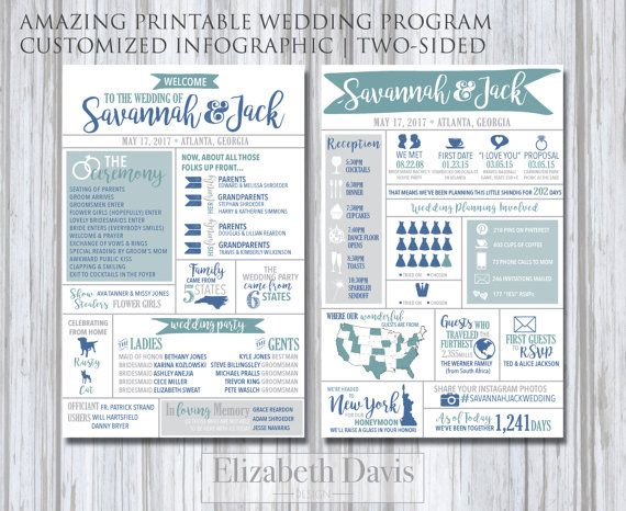 Wedding program infographic printable | modern, fun, entertaining for guests | states, travel, destination, fun trivia, menu , hashtag, pets