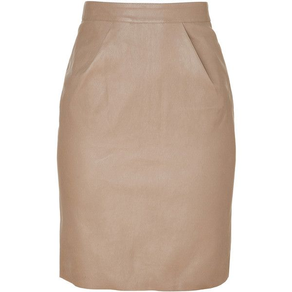 JITROIS Beige Stretch Leather Skirt found on Polyvore