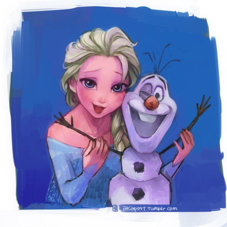 Elsa and Olaf by A-KA.