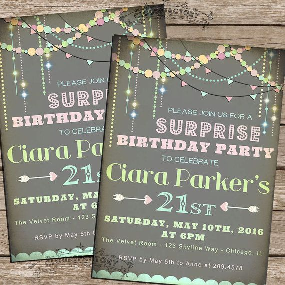 SURPRISE Birthday Party Invitation - Digital Printable Invite diy Pastel Typography 21st 30th 40th 50th 60th or ANY age - No.397