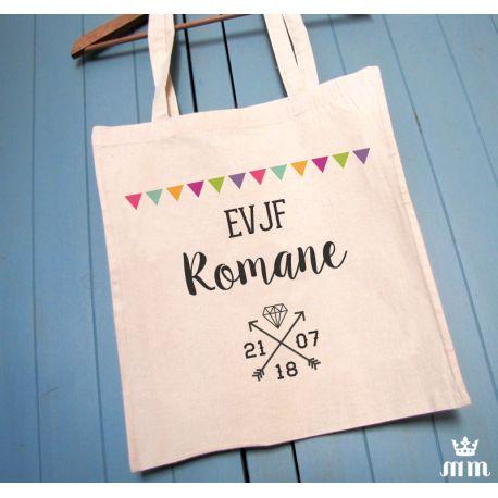 Tote bag EVJF Diamant, cadeau idéal pour la future mariée et ses amis présentes pour l'enterrement de vie de jeune fille (EVJF)... Ce tote bag personnalisé est un souvenir original à conserver.