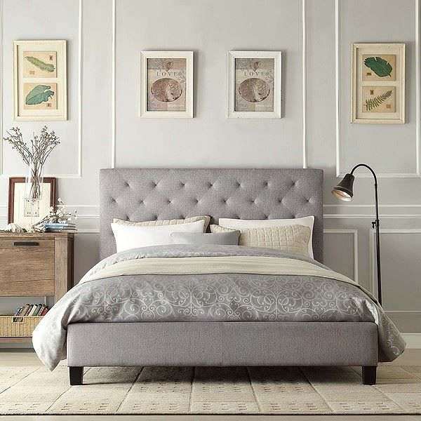 Tesco direct: Charlotte Double 4ft 6 Fabric Low End Grey Bed Frame by 40 Zees