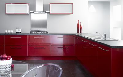 Reflections high Gloss Burgundy Complete Kitchen Cabinets