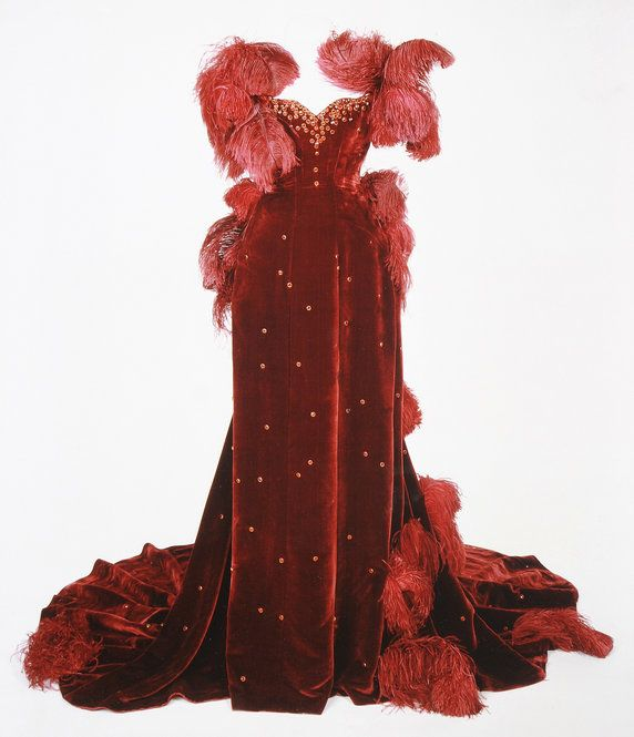 """Weights removed from red burgundy dress from """"Gone With The Wind"""" to prevent damage 