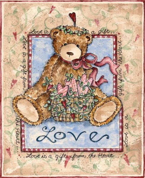 Valentine bear ~ Love is a Gift from the Heart by Shelly Rasche folk art