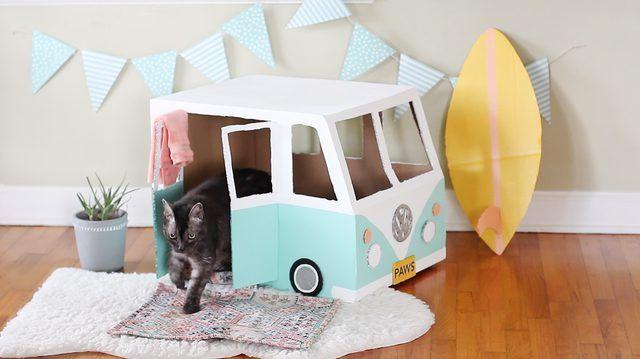 Cardboard Bus Cat House Tutorial | eHow