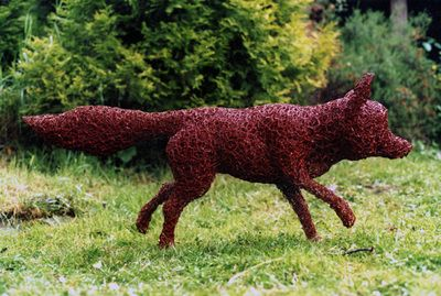 Fox. galvanised wire painted red.