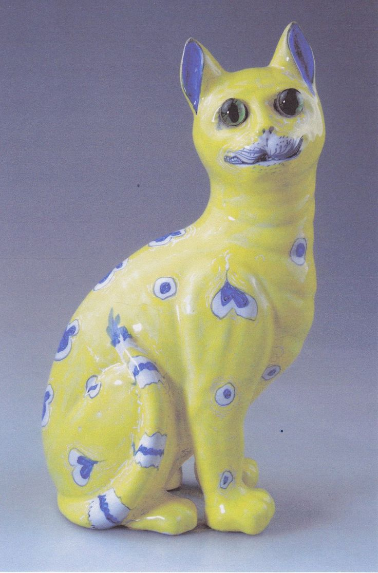Emile Gallé Cat ca. 1880 issued in conjunction  with a French Bulldog showing the same decorations.