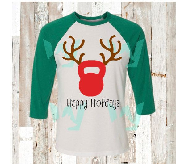 KETTLE BELL REINDEER happy holidays- christmas shirt, crossfit shirt