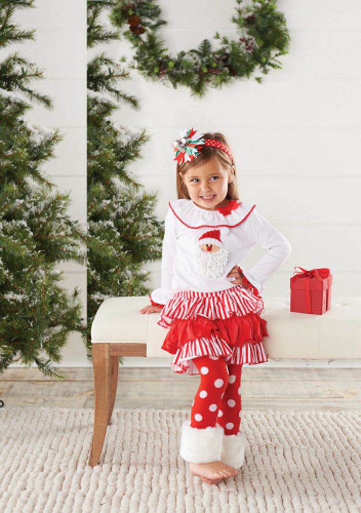 Mud Pie Baby Girls's Christmas Outfits: White Toddler or Infant Girl's Santa Fur Cuff Pant Set